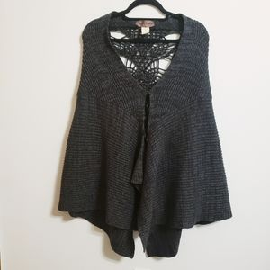 Free People Dark Gray Detailed Back Poncho
